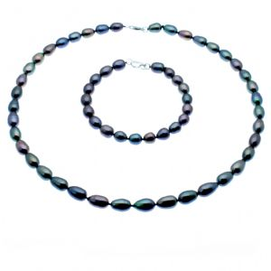 Pearl Necklace & Bracelet Set Sterling Silver Black Oval Cultured Pearls